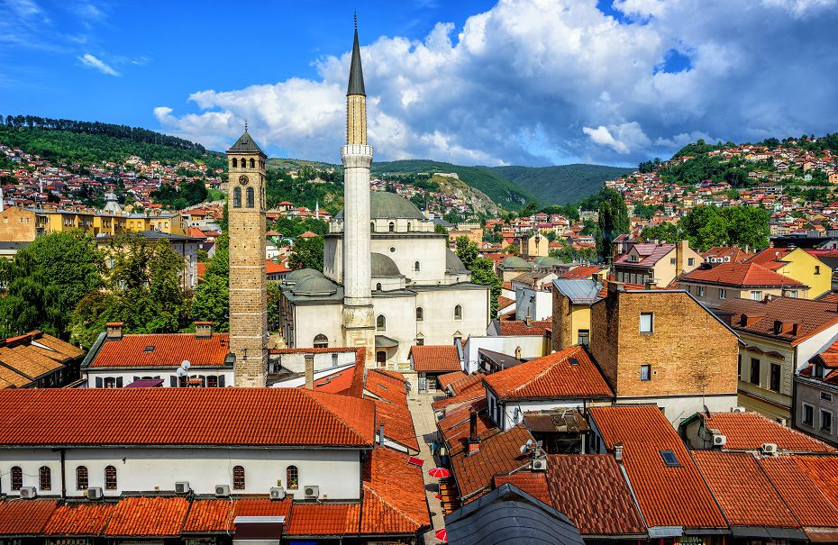 Old town of Sarajevo with Gazi Husrev-beg Mosque and red tiled roofs of main bazaar, Bosnia and Herzegovina, photo by Xantana.
